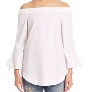 Free People white Show Me Some Shoulder Top